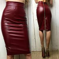 Женская юбка из эко-кожи сзади на молнии