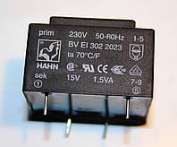 Трансформатор залитый BV EI 302 2023; 230V 50-60Hz. 15V 1.5VA