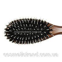 Щетка для волос массажная овальная деревянная со смешанной щетиной Salon Professional 7697CLB, фото 3
