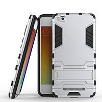 Чехол Iron для Xiaomi Redmi 4a бронированный бампер Броня Silver