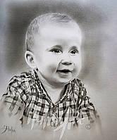 Портрет ребенка техника сухая кисть
