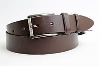 Кожаный ремень 40 мм коричневый гладкий пряжка классическая чернёная/матовая
