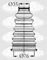 Пыльник полуоси наружный левый/правый (пластик) с хомутами 34х72 KANGOO до 2008 г. Производитель:Sasic.