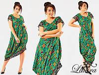 """Стильное летнее женское платье в больших размерах """"Штапель Цветы Угол Перфо"""" в расцветках (87-531)"""