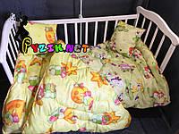 Стеганое детское одеяло и подушка с силиконовым наполнителем , цвет на выбор, фото 1