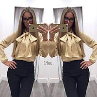 Блуза с бантом из атласа золото