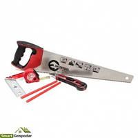 Набор инструмента столярный 6ед. (ножовка, нож, карандаши, рулетка, угольник) Intertool HT-3157