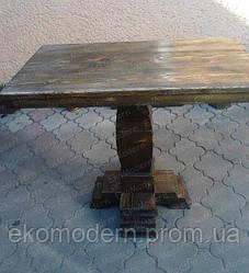 Стол под старину на одной ноге ВИКИНГ квадратный для дома, бани, ресторана и бара