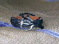 Кожаный браслет на руку ЯКОРЬ, ручная работа