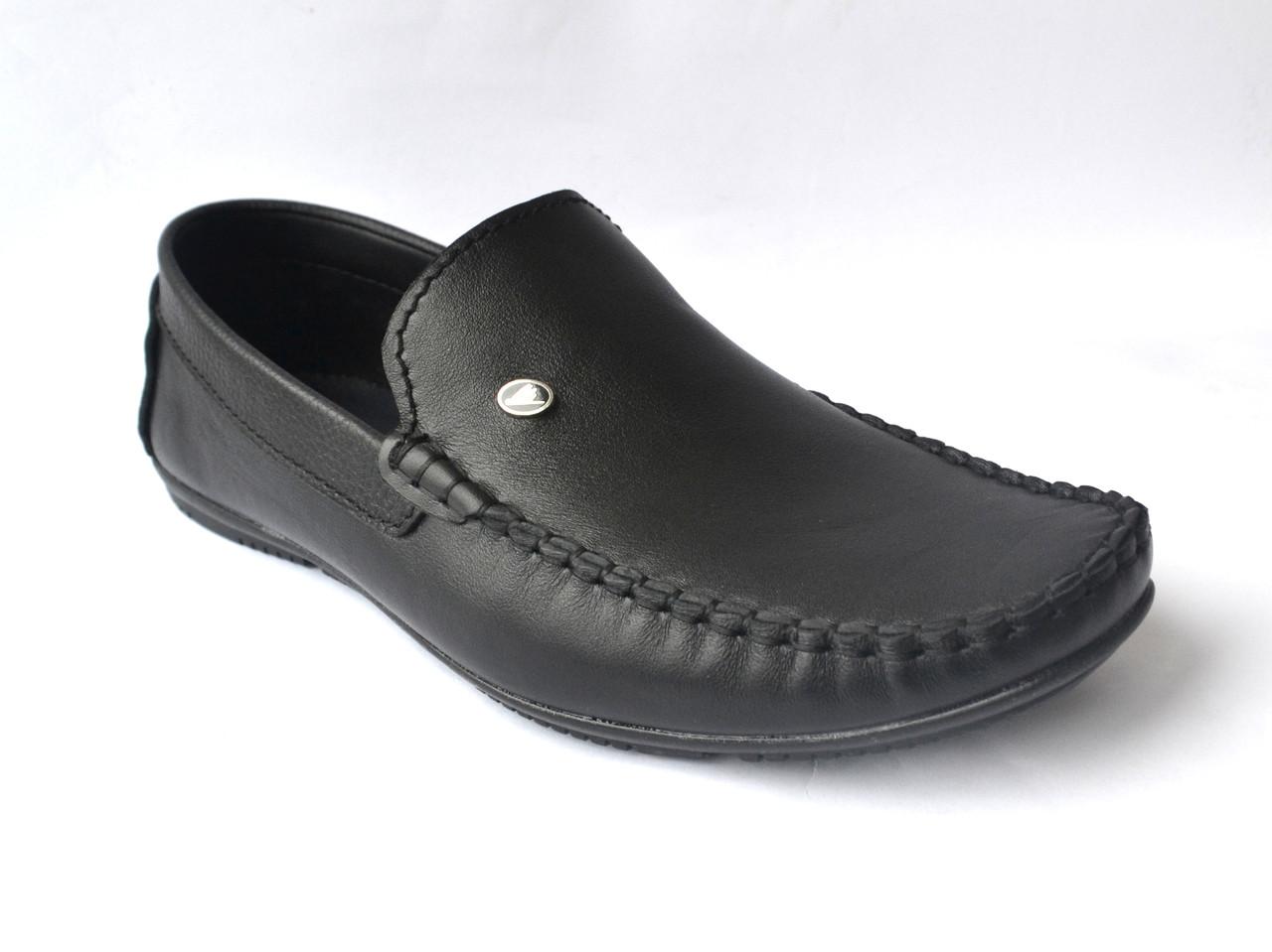 Мужские мокасины кожаные черные стильные обувь больших размеров Rosso Avangard BS M4 Black