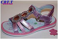 Детская летняя обувь.Кожаные босоножки для девочек от фирмы Meekone B516-1 (12/6 пар 26-31)