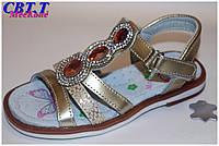 Детская летняя обувь.Кожаные босоножки для девочек от фирмы Meekone B516-3 (12/6 пар 26-31)