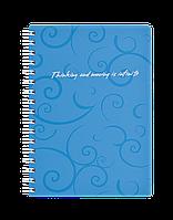 Книжка для записів на пружині Barocco А6, 80 арк, кл., блакитний, пласт.обкл.BM.2589-614