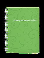 Книжка для записів на пружині Barocco А6, 80 арк, кл., салатовий, пласт.обкл.BM.2589-615
