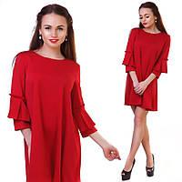Платье расклешенное с красивыми рукавами красного цвета