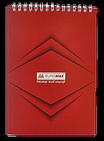 Блокнот на пружині зверху , А-5, 48 арк, JOBMAX, клітинка, картонна обкладинка, червонийBM.2474-05