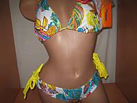 Купальник женский бюст+трусики желтый с рисунком