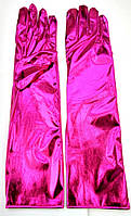 Перчатки длинные карнавальные малиновые