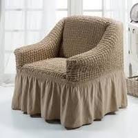 Натяжной чехол для кресла Burumcuk (слоновая кость) кофе с молоком