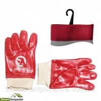 Перчатка маслостойкая х/б трикотаж покрытая PVC c вязаным манжетом (красная) (ящик 120пар) Intertool
