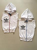 Акция 1+1. Жилетка безрукавка детская для девочки Adidas, хлопок,р.р.28-36