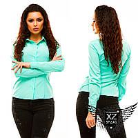 Строгая блузка с длинным рукавом, цвета мятная, красная, синяя, пудры, желтая, все размеры и другие цвета