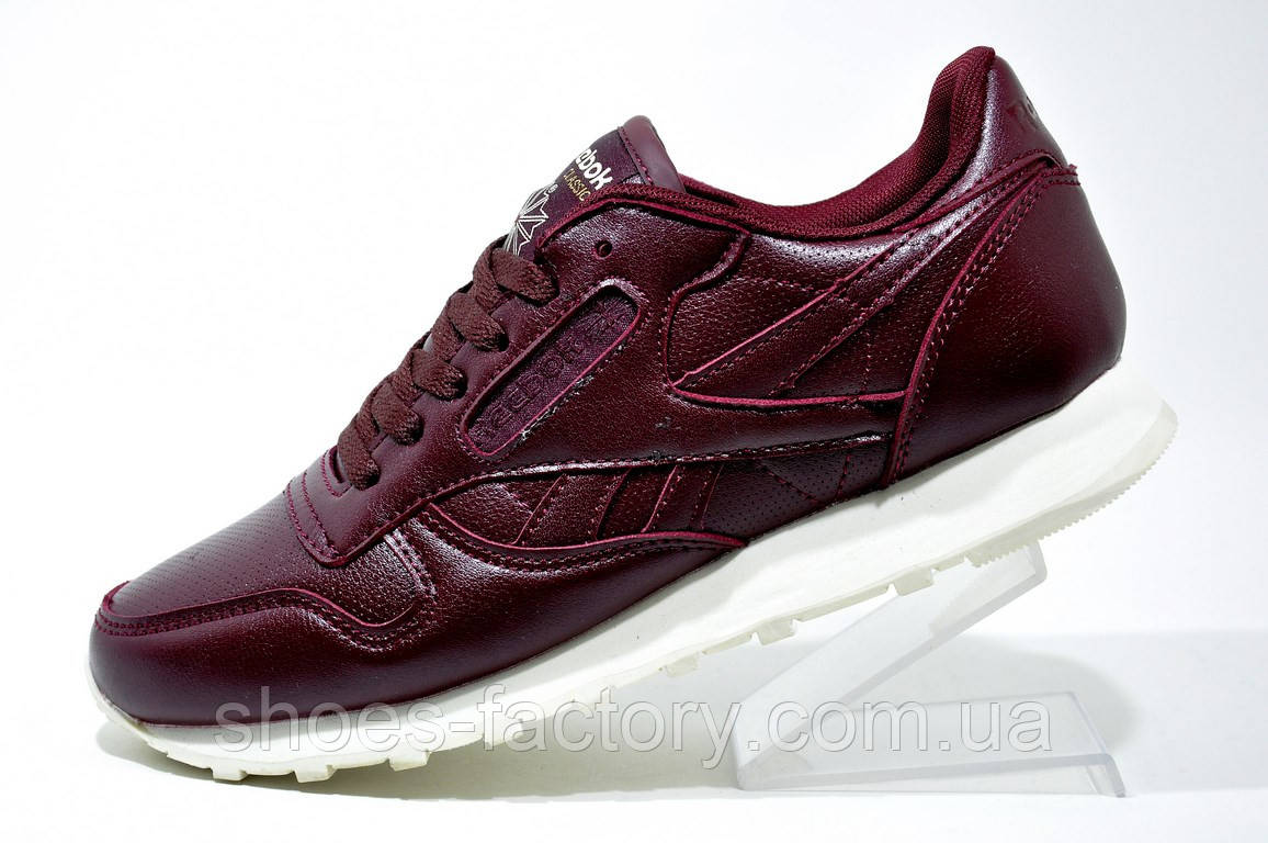 Кроссовки Женские в Стиле Reebok Classic Leather, Бордовые — в ... 8244d69a08f