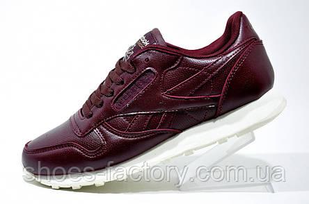 Кроссовки женские в стиле Reebok Classic Leather, Бордовые, фото 2