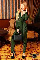 Женский комбинезон с поясом зеленый, черный, коричневый