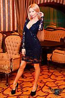 Короткое  платье мини  в сетку с вышивкой темно-синий, темное, синие  мини платье, сексуальное платье