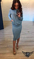 Женский костюм кофта на молнии и юбка серый