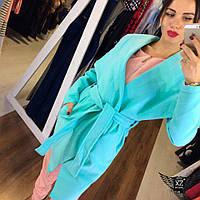 Стильное женское пальто с поясом ментоловое, голубое