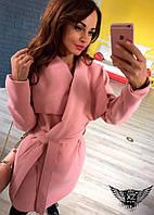 Стильное женское пальто с поясом пудровое, светло-розовое, розовое,
