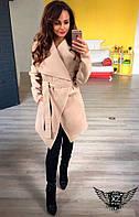Стильное женское пальто с поясом бежевое, светлое, бордо, бордовое