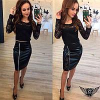 Женский костюм топ и юбка выше колена с гипюром, цвета черный, все размеры