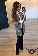 Строгий удлиненный пиджак черно-белый