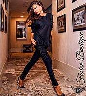 Элегантный женский костюм кофта и штаны на резинке черный