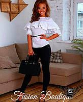 Костюм женский блуза с воланом и штаны на резинке черно-белый