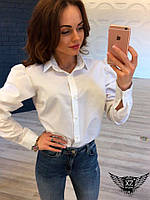 Женская блузка с рукавом фонарик белая