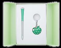 Набор подарочный Langres Apple: ручка шариковая + брелок, зеленый