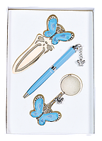 Набор подарочный Langres Fly: ручка шариковая + брелок + закладка, синий