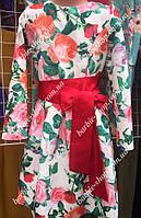 Яркое детское платье с атласным пояском 211