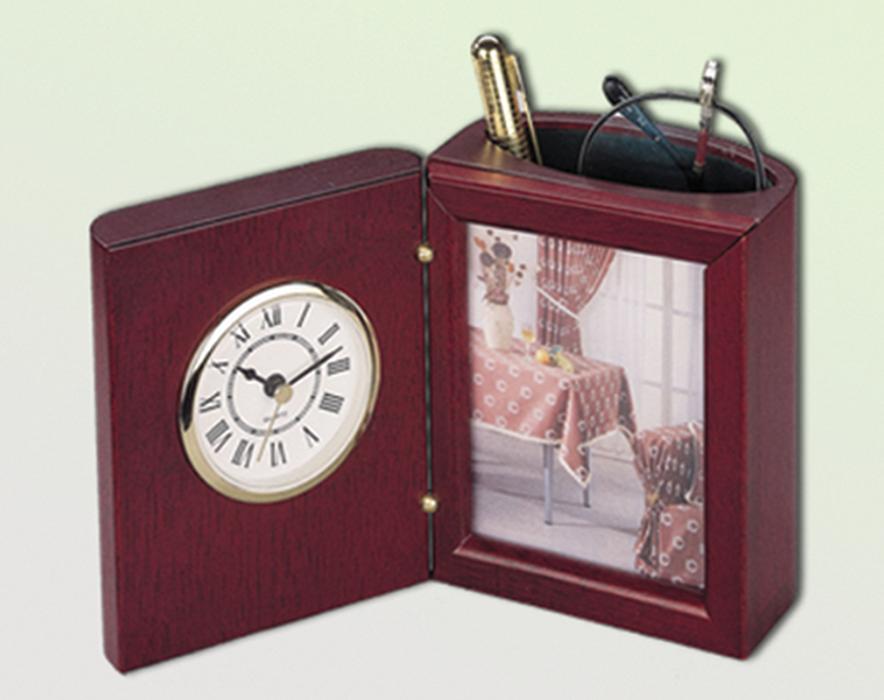 Прилад настільний (годинник, фоторамка, підставка), червоне дерево 0056XJU