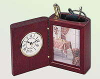 Прибор настольный (часы, фоторамка, подставка), красное дерево 0056XJU