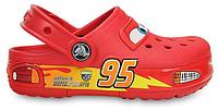 Детские кроксы Crocs Cars CrocsLights Clog Red с LED-лампочками красные