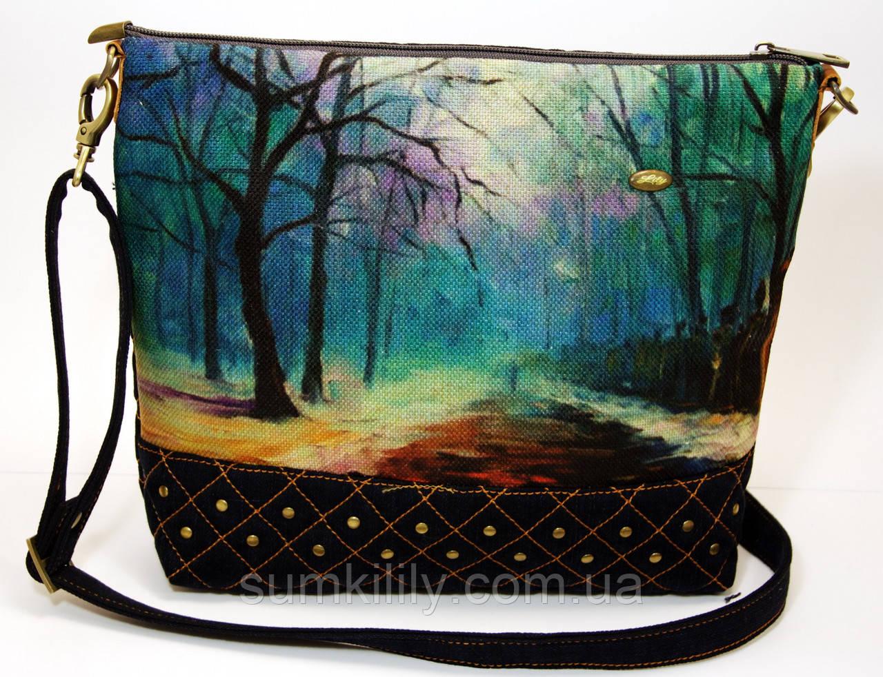 Джинсовая стеганная сумочка В парке