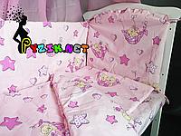 """Постельный набор в детскую кроватку (8 предметов) Premium """"Мишки в гамаке"""" нежно-розовый"""