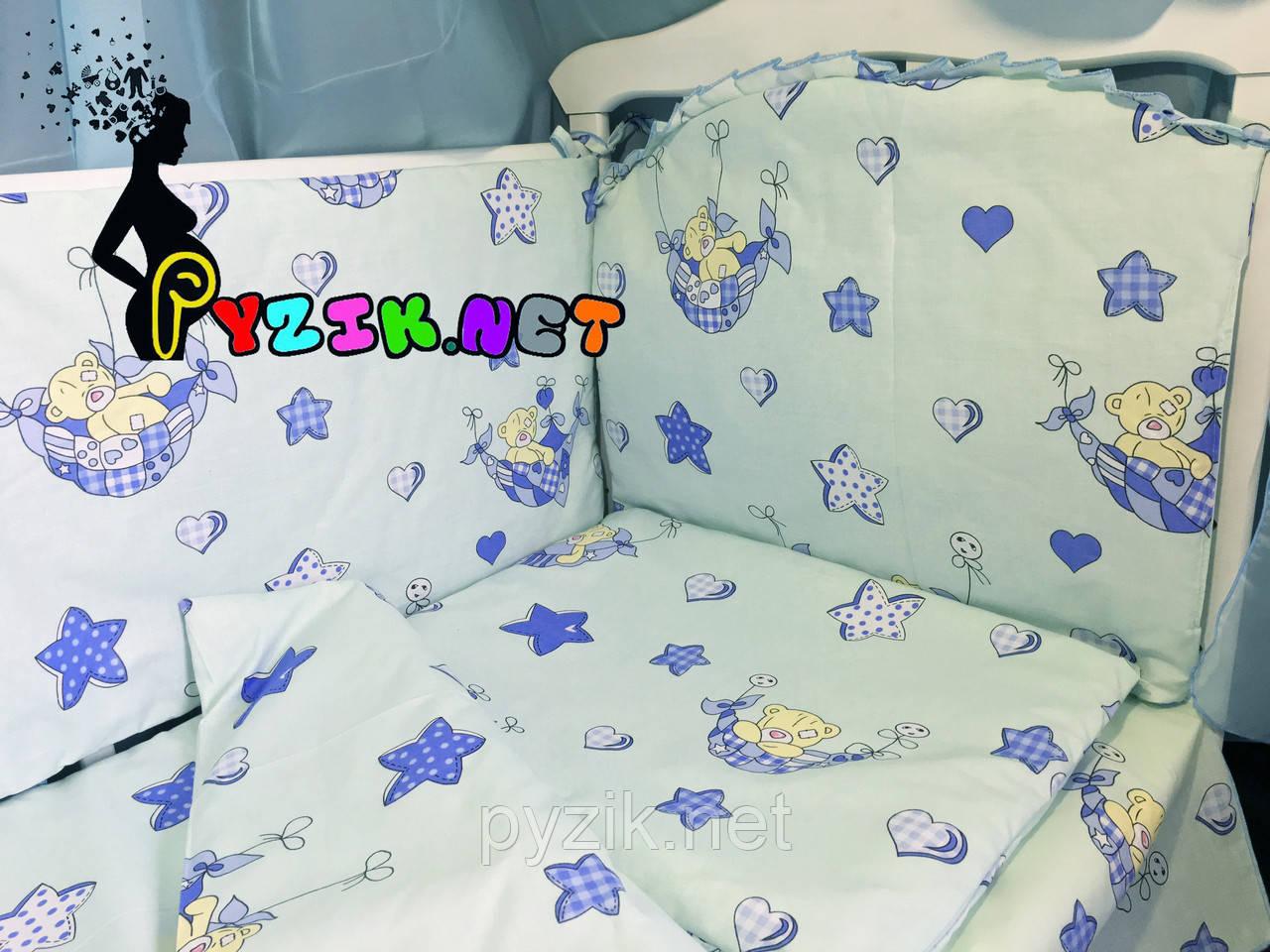 """Постельный набор в детскую кроватку (8 предметов) Premium """"Мишки в гамаке"""" нежно-бирюзовый"""