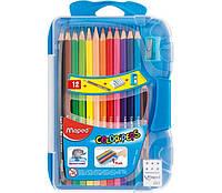 Олівці кольорові COLOR PEPS Smart Box, 12 кол., +3 вироби, пластик. футляр з підвісом, асорті, MP.832032