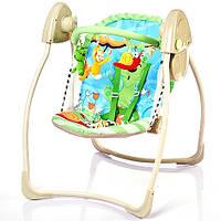 Музыкальная электрокачель Bambi качели 2в1 с таймером дуга бежево-зеленая